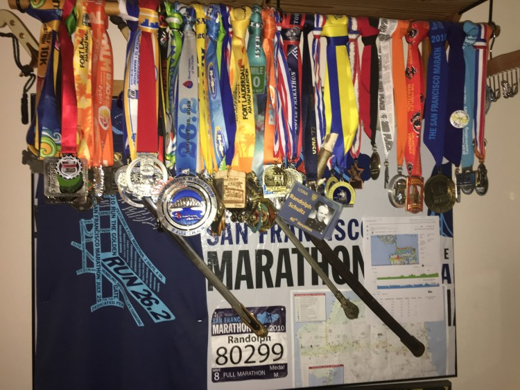 run, medal collection, marathoner